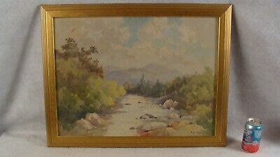 Antique 1933 Arthur Kimball Impressionist River Landscape Painting