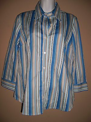 NWT Womens 'Motherhood Maternity' Size S Blue Striped 3/4 Sleeve Blouse Top