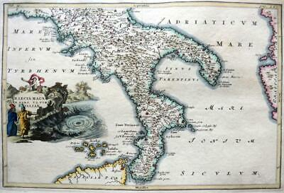 SOUTHERN ITALY CALABRIA PUGLIA  BY CELLARIUS  c1703 GENUINE ANTIQUE ENGRAVED MAP