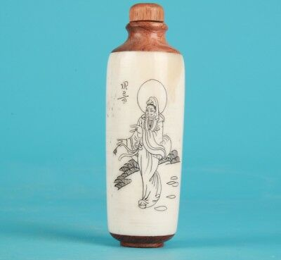Precious Chinese Cattle Bone Snuff Bottle Hand-Painted Luohan Mascot Gifts