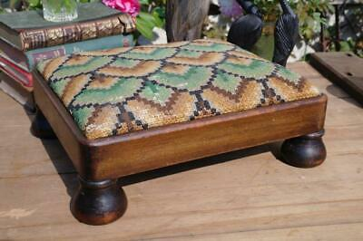 Antique Victorian Oak Foot Stool Wool Tapestry Top Bun Feet Country House Chic