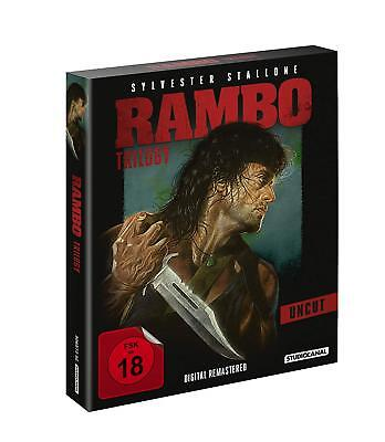RAMBO Teil 1 2 3 TRILOGY UNCUT Sylvester Stallone FIRST BLOOD Auftrag BluRay Box