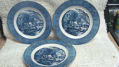 3 Currier & Ives Royal China Blue White 10'' Dinner Plates The Old Grist Mill #1