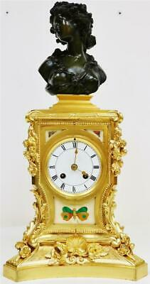 Antique French 8 Day Bronze Ormolu Large Lady Bust & Marble Panel Mantle Clock