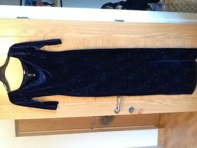 eab4c351 £50 QUIZ Navy Velvet Glitter Bardot Maxi Split Leg Party Ball Dress Size 12