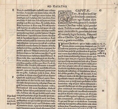 c1700 Four Early Bible Leaves - The Epistle to the Galatians - Gold-ink rulings