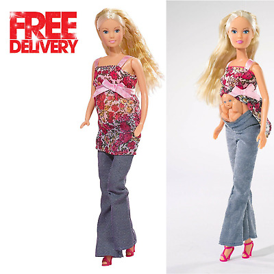 Removable Tummy Baby + 13 Accessories Steffi Love Barbie Girl Pregnant Doll Toy
