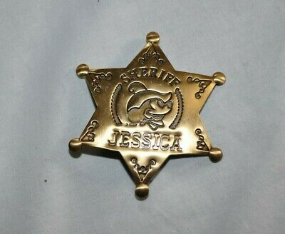 Sheriff Mickey Mouse Brass Star Badge Personalized JESSICA Disney Pin