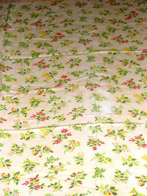 """Vintage Tablecloth 48"""" x 64"""", Yellow Chili Peppers Berries Blossoms"""