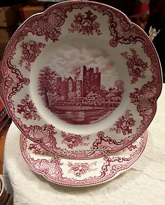 """LOT OF 2 Vintage Johnson Brothers England Old Britain Castles Dinner Plates 10"""""""