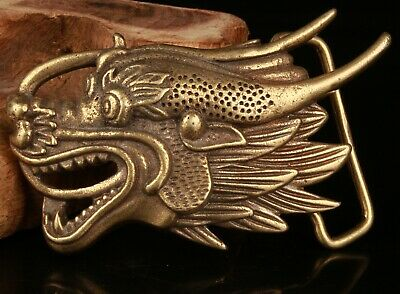 Chinese Bronze Hand Carving Dragon Statue Belt Buckle Collection Gift