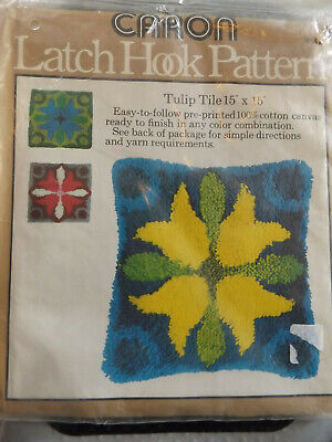 Latch Hook Pattern Tulip Tile #3031 by Caron yarn requirements included