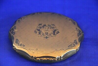 Vintage KIGU Gold Tone Powder Compact Made In England Mint Condition