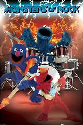 SESAME STREET ~ MONSTERS OF ROCK ~ 24x36 POSTER ~ Cookie Elmo Grover Muppets