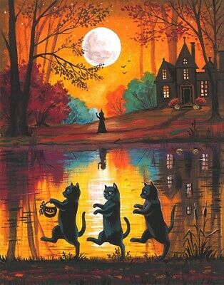 11x14 PRINT OF PAINTING RYTA WITCH BLACK CAT AUTUMN HALLOWEEN HAUNTED HOUSE ART