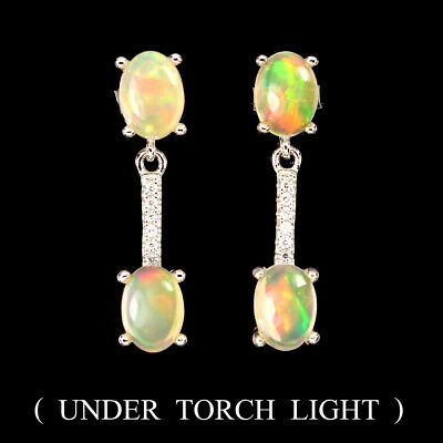 Unheated 7x5mm Fire Rainbow Opal Cubic Zirconia 925 Sterling Silver Earrings High Quality And Inexpensive Jewelry & Watches
