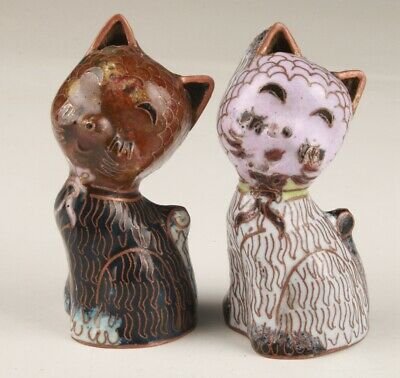 2 Chinese Cloisonne Hand Carving Cute Cat Statue Lucky Gift Collection