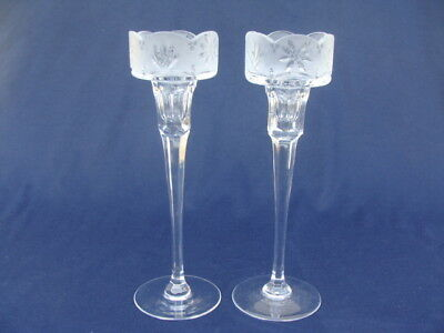 """Vintage Cut Etched Crystal Glass, 2 Tall Votive Pillar Candle Holders, 10"""" +"""