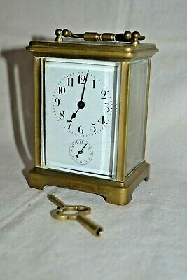 Vintage Brass Beveled Glass Carriage Clock Porcelain Dial Key NICE