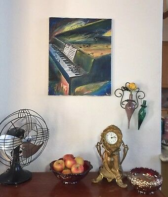 Piano Painting Abstract Impressionist Music Signed Dated Fantasy Song Folk Art