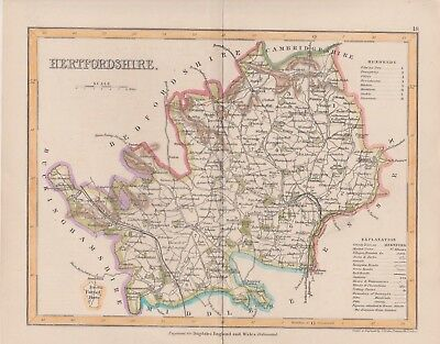 "1846 Two Antique Maps - ""HERTFORDSHIRE"", England - Thomas Dugdale - New Railways"