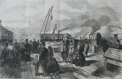 """1859 Two Antique Prints - """"The Great Eastern"""" - Public Inspection & Paddle Shaft"""