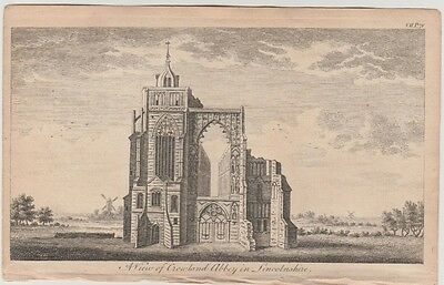1776 Small Antique Engraving - VIEW OF CROWLAND ABBEY, LINCOLNSHIRE - England