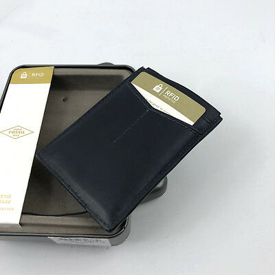 NWT FOSSIL PAUL Business Card Holder Magnetic Money Clip Navy Blue Leather RFID