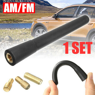 New Universal Black Real Carbon Fiber Aluminum Short Screw-On Mast Car Antenna
