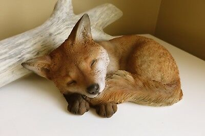 Fox Laying Down Curled Up Sleeping Resin Animal Statue Smart Old Fox Foxes New