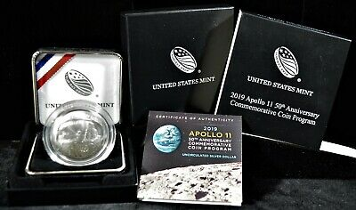 2019 1 oz UNC Apollo 11 American Silver Commemorative in O.G.P,