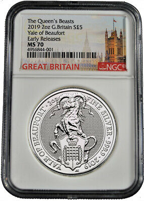 2019 U.K. £5 NGC MS 70 Queens Beast Yale of Beaufort 2 oz .9999 Silver Coin b592