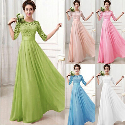 Women Formal Wedding Bridesmaid Long Evening Party Prom Gown Cocktail Dress