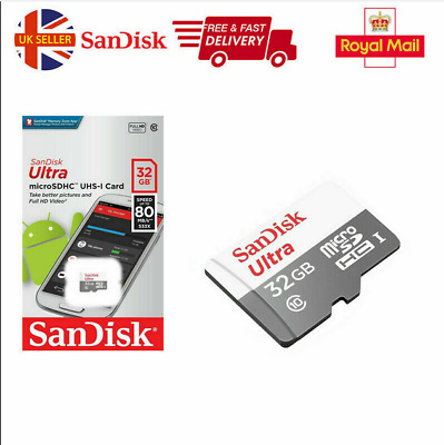 UK Sandisk 32GB Ultra Micro SD SDHC TF Memory Card 80MBs UHSI Class 10