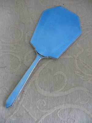 vintage 1930s art deco GUILLOCHE BLUE enamel vanity HAND MIRROR imperfect
