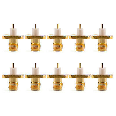 10Pcs Connector RP-SMA Female Plug 4-hole 12.7mm Flange Solder Panel Mount