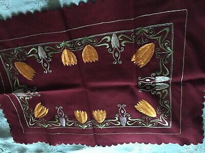 Beautiful Vintage Hand-Embroidered Woolen Table Runner