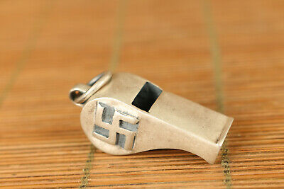 Old Solid S925 silver Self-defense whistle Statue Pendant netsuke necklace gift