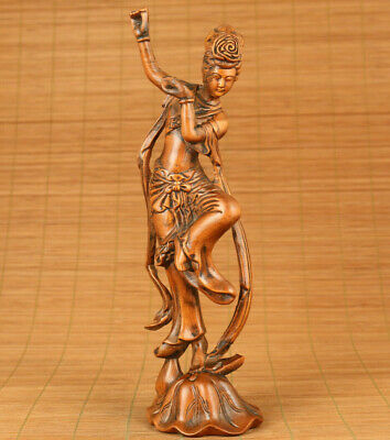 Antique old boxwood hand carved peri statue netsuke ornament home decoration