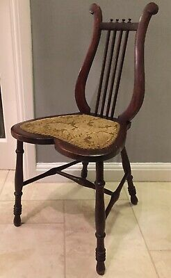 Antique Harp Back Wood Chair
