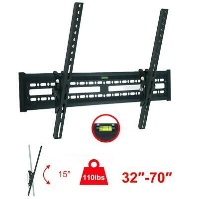 TV Wall Mount Bracket 15° Tilt Swivel For 32 37 40 42 46 50 55 60 65 70 inch