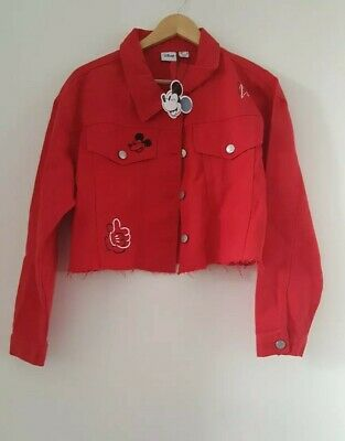 NEW Stylish Disney Mickey MOUSE ladies/Girls Cropped RED Denim Jacket PRIMARK