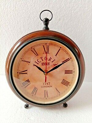 """Antique Vintage Wooden 8"""" inch Wall Clock Victoria Station London 1747"""