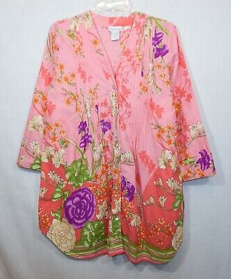 01c82fb5d84 Soft Surroundings Womens Floral Pintuck Tunic Medium Top Shirt M Dart Blouse