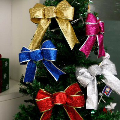 Christmas Wired Glitter Ribbon Bow Cake Wrap Tree Wreath Party Decoration Gift H