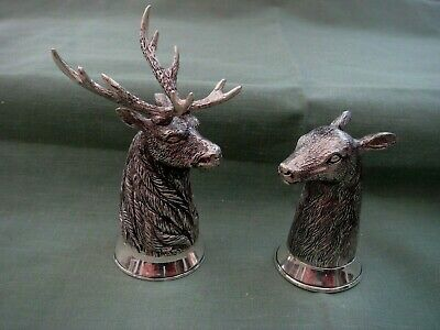 Pair 925 Silver Plated Novelty Stag Deer Hunting Salt & Pepper Pots  Shakers