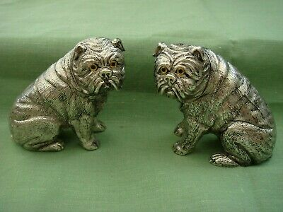 A Pair Of Novelty 925 Silver Plated Pug Dog Salt And Pepper Pots Cellars Shakers