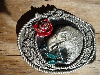 Belt Buckle Eagle with Rose GABC 1994 Pewter approx. 3.5 x 2.5 in (1A)