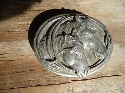 Belt Buckle Two Horses w/Lasso Siskiyou 1983 Pewter approx. 3 x 2.5 in (S)