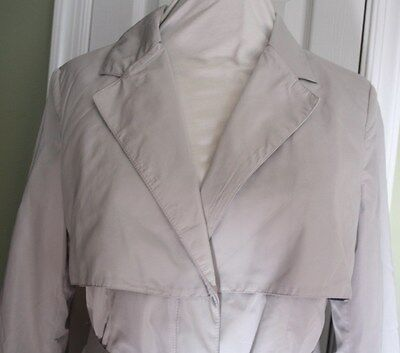 NEW American Glamour Badgley Mischka Polyester L Trench Coat/Jacket Light Gray